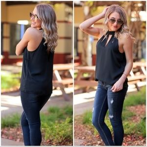 Black Halter Style Cut Out Tunic